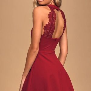 Lulu's Hometown Girl Lace Skater Dress Wine Red Sm